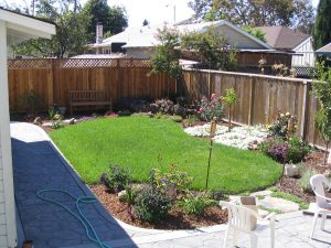 Backyard with grass and flower beds